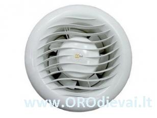 Aukštatemperatūris MMotors ventiliatorius su guoliais MM-S 100 saunai, garinėms pirtims be laikmačio baltas apvalus
