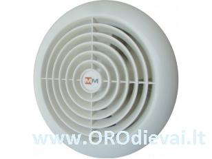 Aukštatemperatūris MMotors ventiliatorius su guoliais MM-S 120 saunai, garinėms pirtims be laikmačio baltas apvalus