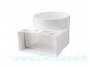 Plastikinė alkūnė Ø125-60x204mm, kampas-90° 822